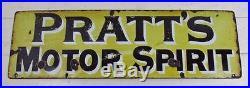 Original Vintage c1920 Pratt's Motor Spirit Enamel Sign #1