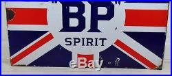 Original Vintage c1920's B. P. Motor Spirit Double Sided Enamel Sign
