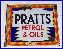 Original Vintage c1930 Pratts Petrol & Oils Double Sided Enamel Sign
