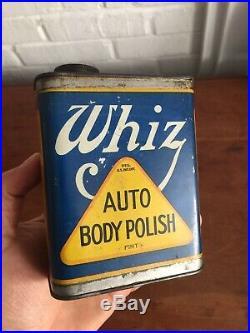 Original WHIZ AUTO BODY POLISH TIN CAN VINTAGE CAR CLEANER Litho