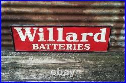 Original Willard Batteries Sign Vintage Auto Garage Gas & Oil Sign 40x12 AM 9-59