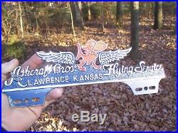 Original vintage 40s KANSAS JAYHAWK Flying service license plate topper gm parts