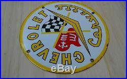 Original vintage 50s CHEVROLET CORVETTE porcelain metal dealer service shop sign