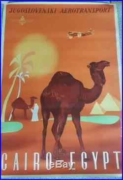 Original vintage aviation travel poster Cairo Egypt by Yugoslav airline JAT