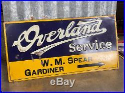 Overland Service Sign SST Tire Auto Gas Oil Metal VINTAGE