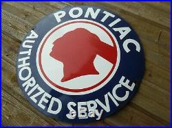 PONTIAC Porcelain Sign Advertising Vintage Service 20 old GM USA GTO Trans Am