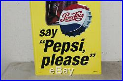 Pepsi Cola Bottle Signs Vintage Style Embossed Large 48 x 18 Country Store Add