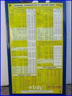Plaque emaillee Michelin pression pneus voiture epoque vintage citroen peugeot