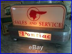 Pontiac Sign Pontiac Lighted Sign Art Deco Sign Vintage Sign