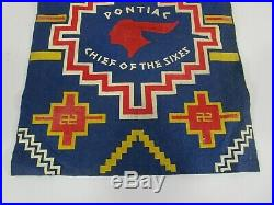 Pontiac automotive advertising sign banner cloth vintage chief of the sixes