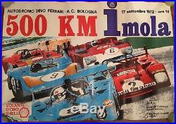 Poster Manifesto, Vintage 1972 500 Km Imola, Ferrari, Porsche, Alfa Auto Car Race
