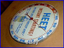 RARE 1950s Vintage HEET GAS LINE FLUID Old Car Gas Station Thermometer Sign