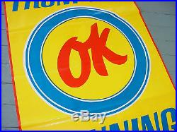 RARE 1960s Vintage CHEVY OK USED CAR SUMMER FUN Old 6 ft. Tall Banner Sign