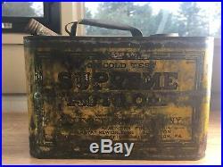 RARE Supreme Auto Oil Gulf Refining Co. 1 Gallon Tin Can Antique Vintage