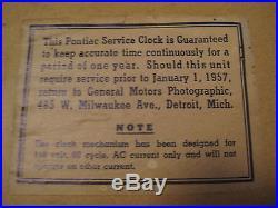 RARE VINTAGE 1950's PONTIAC CAR SERVICE REPAIR ADVERTISING AUTOMOBILE SHOP CLOCK