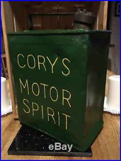 RARE VINTAGE 2 GALLON PETROL CAN CORYS MOTOR SPIRIT- With Brass Cap