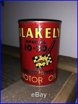 RARE VINTAGE Blakely Race Car Motor OIL CAN GRAPHIC Quart Motor Oil Can FULL