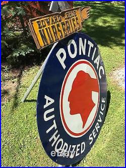 RARE VINTAGE ORIGINAL PONTIAC AUTHORIZED SERVICE Porcelain Sign 42 inch 2 sided