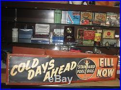 Rare Vintage Standard Metal & Paper Fuel Oil Advertising Sign Mounts On Car