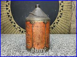 RARE Vintage 1920s CADILLAC Oil Polish Auto Car Gas Advertising Tin Cone Top Can