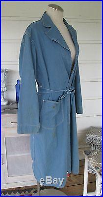 RARE Vintage 30s or 40s Hudson Motor Co Mechanic's Overcoat Trench Coat Jacket