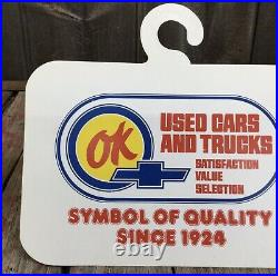 RARE Vintage OK CHEVROLET Used Car Dealership Rear View Mirror Hanging Sign