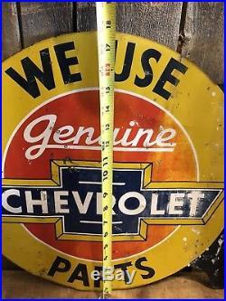 RARE Vintage ORIGINAL Genuine CHEVROLET Parts Auto Dealer 2 Sided Flange Sign