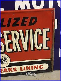 RARE Vintage ORIGINAL Sign GRIZZLY BRAKE LINING Car Truck SST EMBOSSED Auto OLD