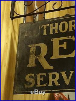 RARE Vintage Original AUTHORIZED REO SERVICE Auto Truck 2 Sided Sign w Hanger