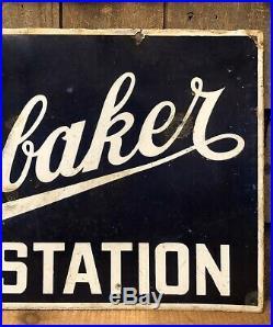 RARE Vintage Original STUDEBAKER Service Station Auto Car 2 Sided Porcelain Sign