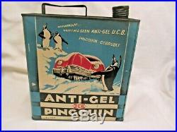 RAREST VINTAGE OIL CAN Tin Anti-freeze Penguin frozen Car image 1940s