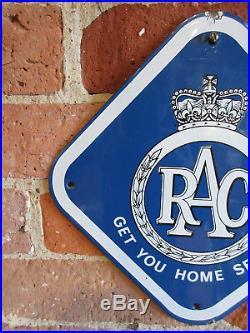 Rac Old Antique Vintage Enamel Porcelain Advertising Sign Automobile Motoring