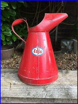 Rare & Highly Collectable Large Vintage 2 Gallon Esso Oil Jug Pourer Can 1971