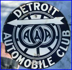 Rare Signs / Original Vintage AAA Club Sign / Detroit Automobile Club Sign 1920s