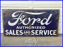 Rare Size! 72 x 35 1/2 Vintage FORD SALES AND SERVICE PORCELAIN SIGN Car Gas