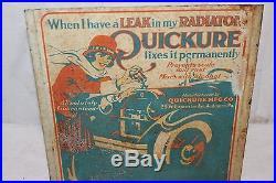 Rare Vintage 1920's Quickure Car Radiator Stop Leak Gas Oil Metal SignVery Neat