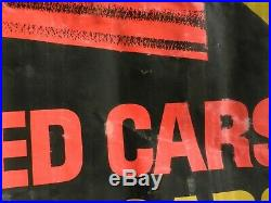 Rare Vintage 1960s OK Chevrolet Chevy NEW USED CARS Advertising Banner COOL