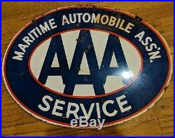 Rare Vintage Aaa Maritime Marine Automobile Service Porcelain Sign