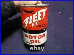 Rare Vintage Fleet Motor Oil 1 Quart Race Car Graphic Can Original Kansas
