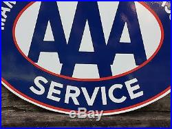 Rare Vintage Maritime Automobile Association Service AAA 2 Sided Porcelain Sign