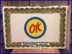 Rare Vintage OK Used Cars Chevy PARTICIPATING DEALER Auto Car Gas Flange Sign