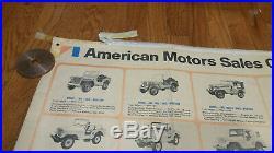 Rare Vintage Original AMC Willys Jeep Dealer Model Identification Poster nos