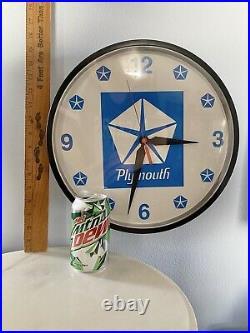 Rare Vintage PLYMOUTH Car Dealer Advertising Wall Clock 14 CHRYSLER Mopar
