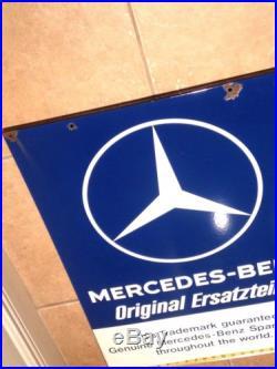 Rare Vintage Porcelain Enamel Mercedes-benz Original Ersatzteile Sign Dealership