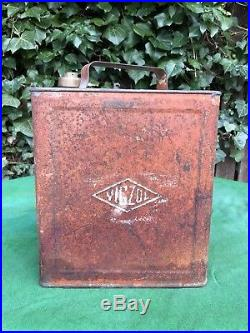 Rare Vintage Vigzol Motor Spirit 2 Two Gallon Petrol Can with Brass Cap