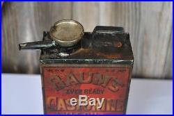 Rare Vintage c. 1900 Baum's Castorine Axle Oil Metal Can Farm Wagon Car Gas Sign