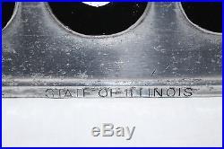 Rare Vintage c. 1908 Illinois Embossed Metal Car License Plate Gas Oil Sign