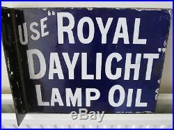 Royal daylight lamp oil sign. Vintage sign. Enamel sign. Automobilia. Petroleum