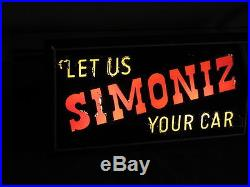 Simoniz Antique Vintage Lighted Sign Very Rare Car Ckeaning Products Works Glass