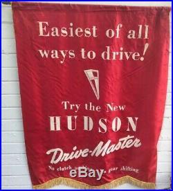 Set of 4 Original 1946 Dealership Hudson Vintage Car Banners Sign